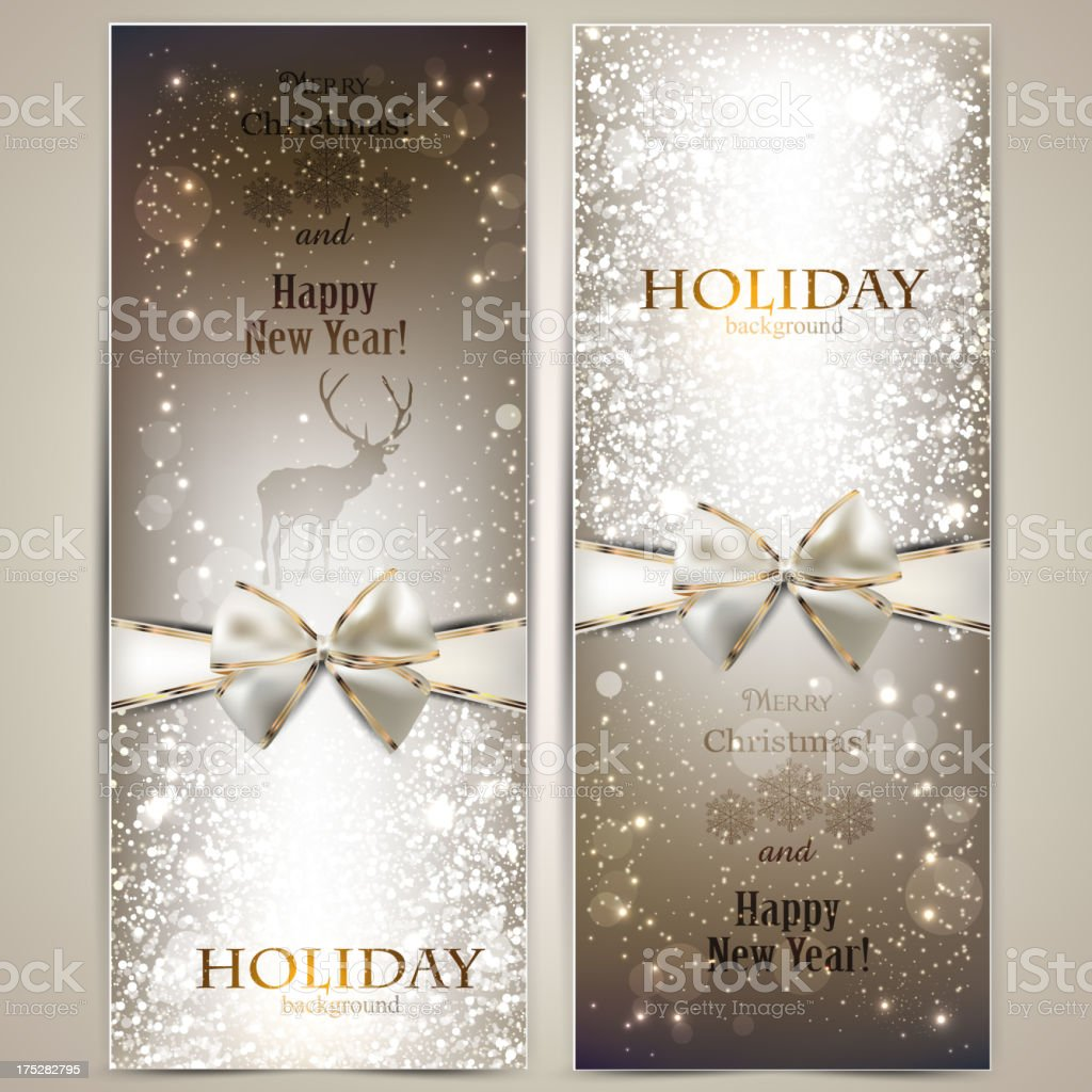 Elegant greeting cards with bows and copy space stock vector art elegant greeting cards with bows and copy space royalty free elegant greeting cards with m4hsunfo