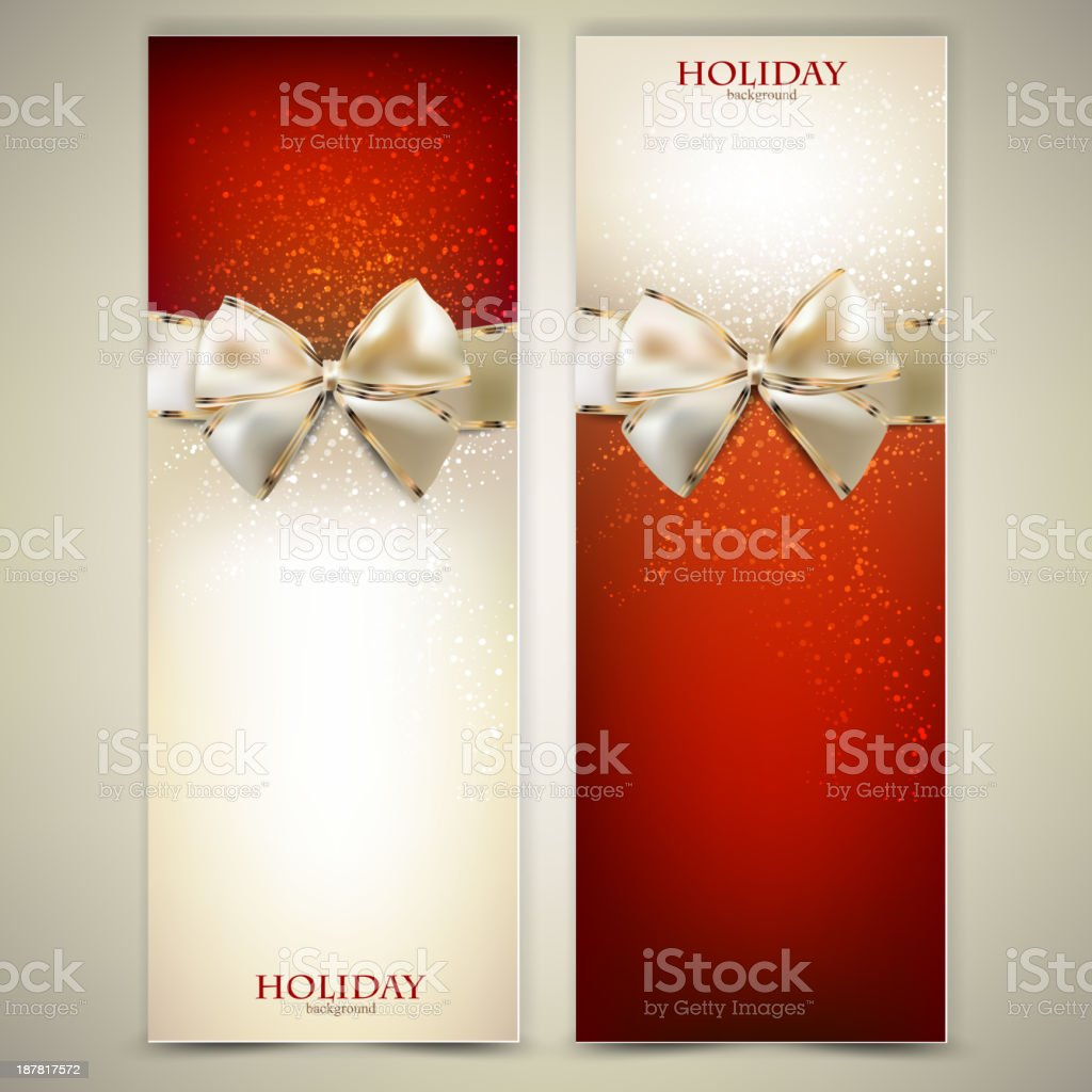 Elegant Greeting Cards With White Bows Stock Vector Art More