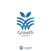 elegant grow leaf or flower logo icon vector design with Green Blue Nature and fresh color design concept. Logo Template for fresh product, yoga, beauty care, or any services.