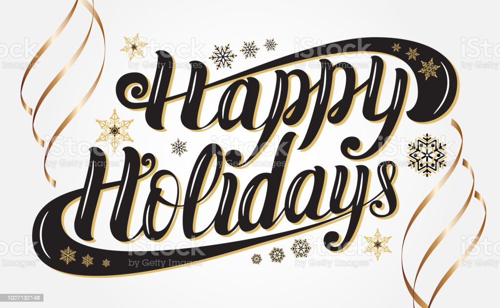 elegant hand lettering happy holidays for greeting cards