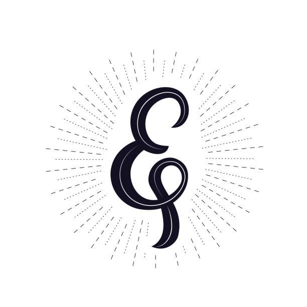 Elegant hand written ampersand with light rays, sunburst. vector art illustration