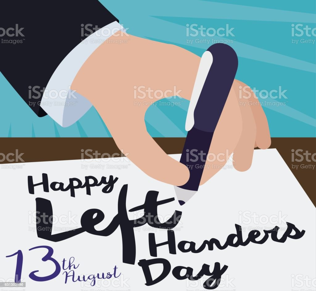 Elegant Hand Writting a Greeting Message for International Left-handers Day vector art illustration