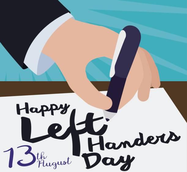illustrazioni stock, clip art, cartoni animati e icone di tendenza di elegant hand writting a greeting message for international left-handers day - mancino