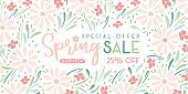 Elegant Hand-Painted Spring Sale Promotion Horizontal Banner with Floral Wreath on White Background. Special Offer Social Media Graphics. PAstel Colored Delicate Daisy Flowers and Foliage