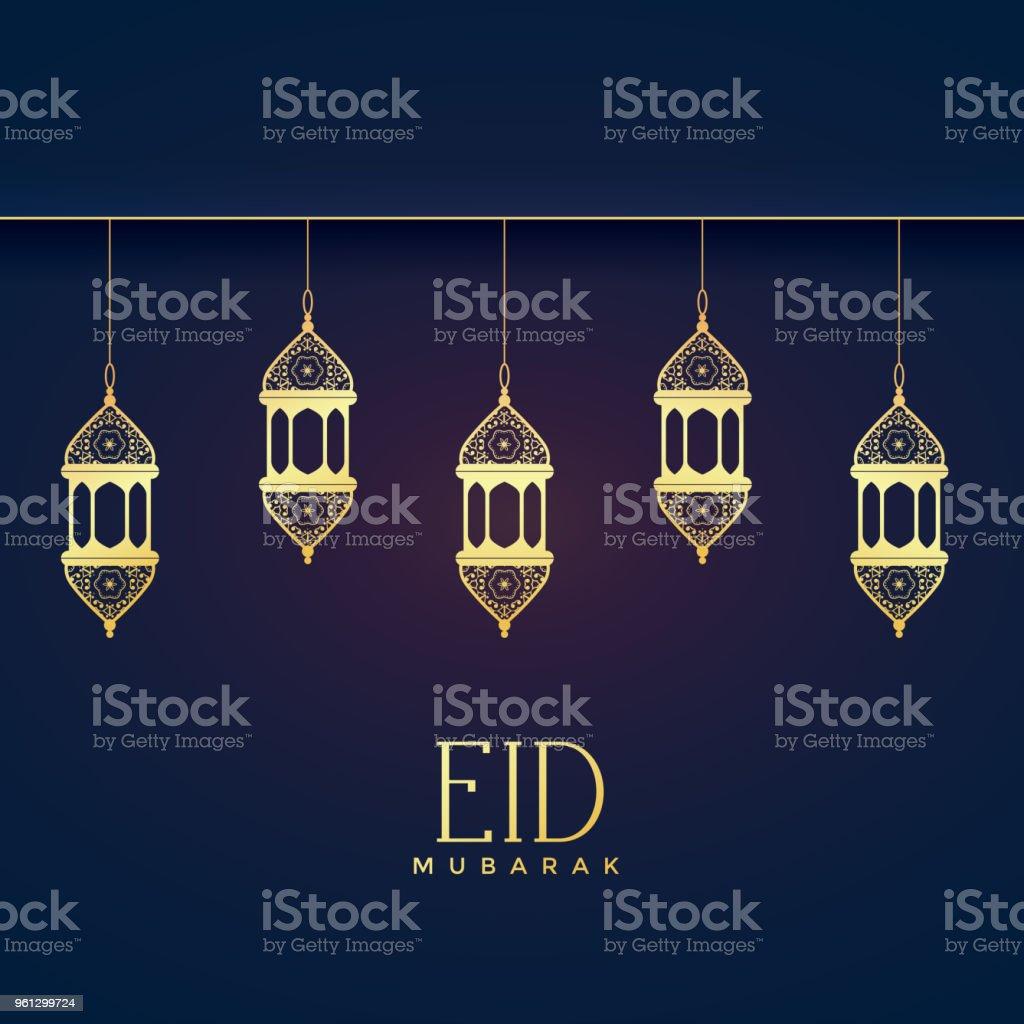 elegant hanging lanterns for eid festival vector art illustration