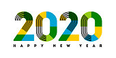 Happy New Year 2020 design. Abstract numbers with stripes and color blocks isolated on white background. Elegant vector illustration in modern style for holiday calendar, greeting card or banner