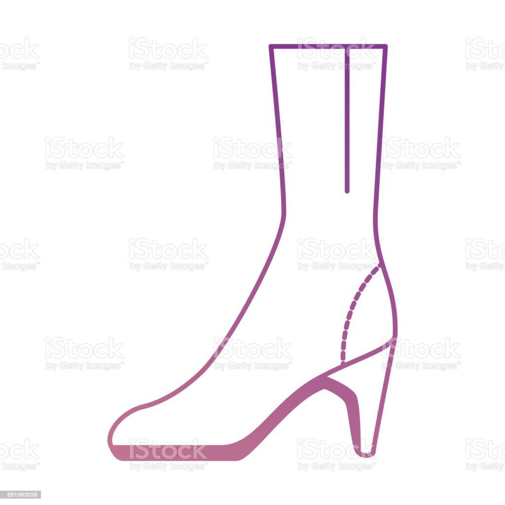 elegant heeled boots icon vector art illustration