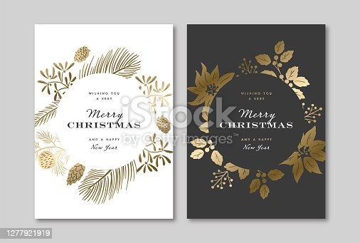 istock Elegant holiday greeting card design template with metallic gold winter botanical graphics 1277921919
