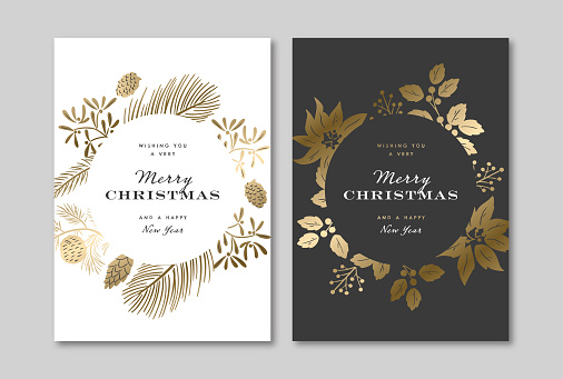 Elegant holiday greeting card design template with metallic gold winter botanical graphics