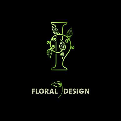 Elegant initial letter I with floral leaves. Natural Floral Logo Icon. Botanical design branding. Vintage alphabet concept with ornate for monogram, emblem, initial, label, brand, greeting cards.