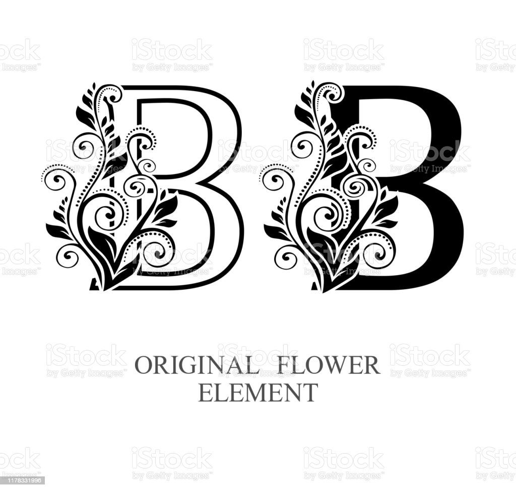 Elegant Initial Letters B In Two Color Variations With