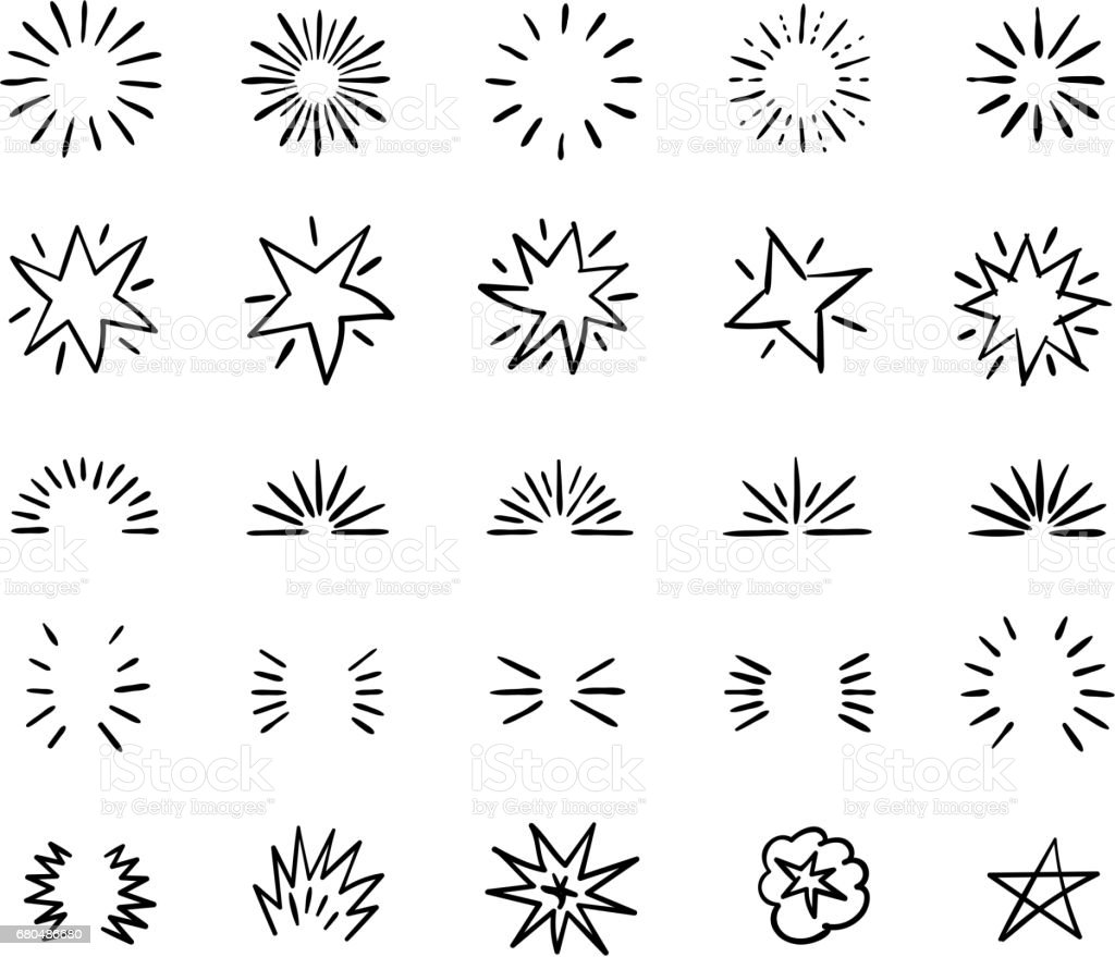 Elegant ink brush circle bursts and whimsical borders. Hand drawn bursting vector decoration vector art illustration