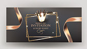 Elegant invitation card with gold design elements and ribbons. Vector illustration