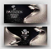 VIP elegant invitation cards with silver ribbons and dust. Vector illustration