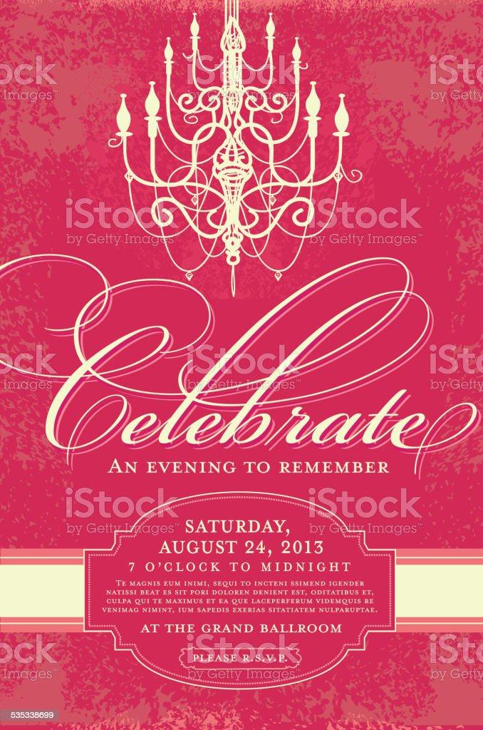 Elegant invitation design template with chandelier vector art illustration