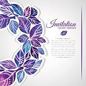 Elegant invitation template with watercolor wreath