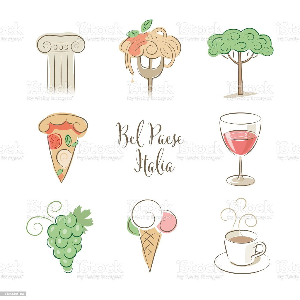 Elegant Italy symbols set in pastel colors - Royalty-free Ancient stock vector