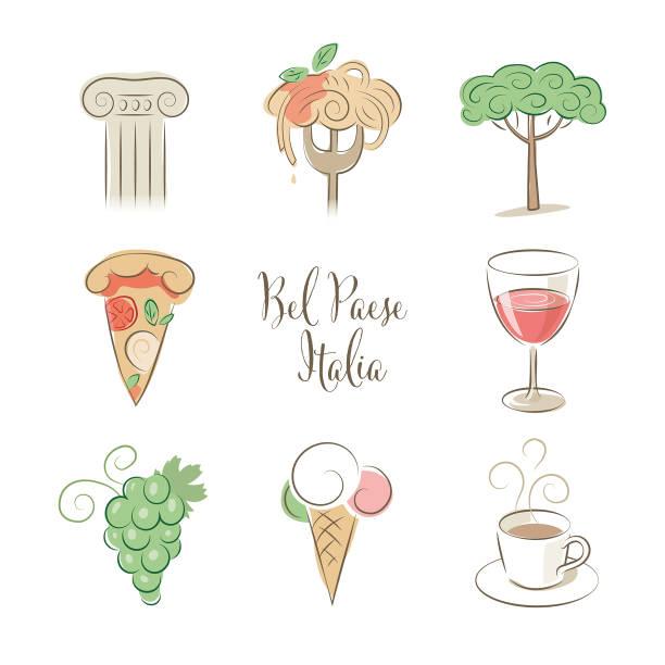 Elegant Italy symbols set in pastel colors vector art illustration