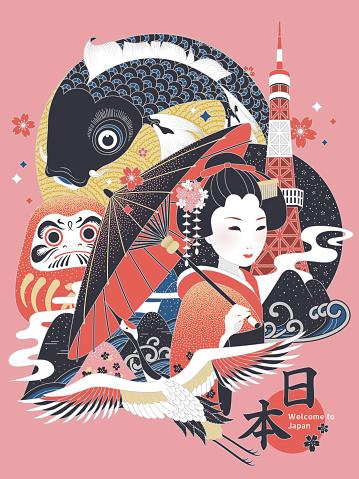 Elegant Japan concept illustration