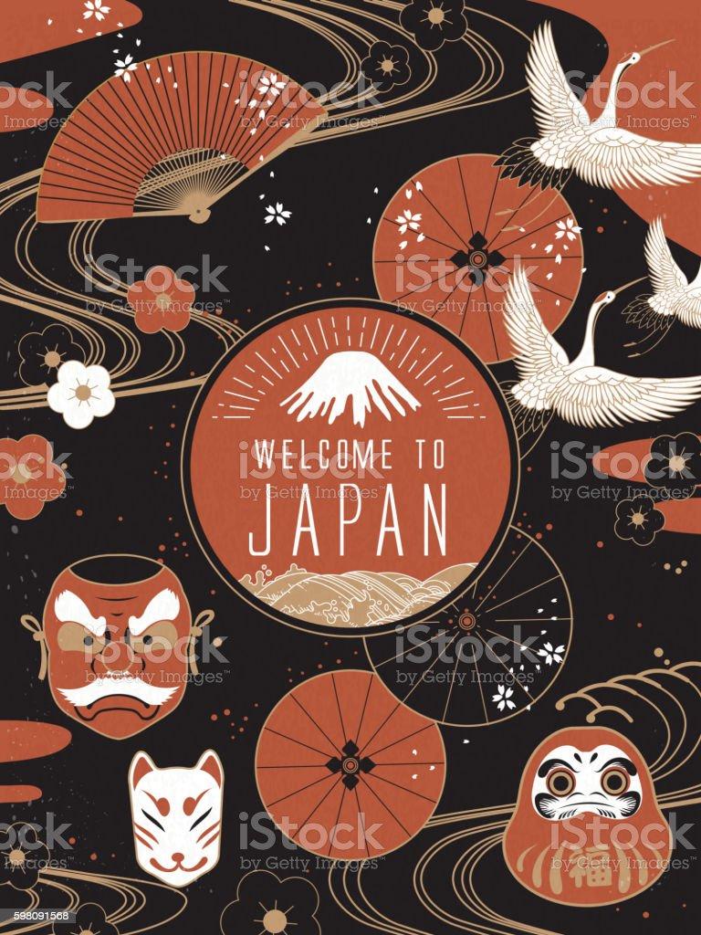 Elegant Japan travel poster vector art illustration