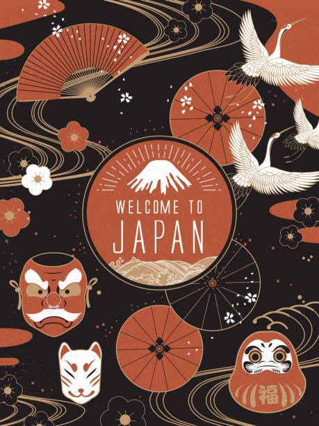 bildbanksillustrationer, clip art samt tecknat material och ikoner med elegant japan travel poster - japanskt ursprung