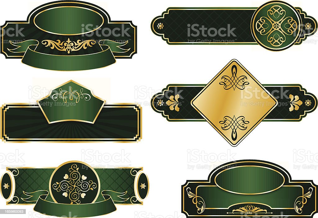 elegant labels deep green stock vector art more images of antique