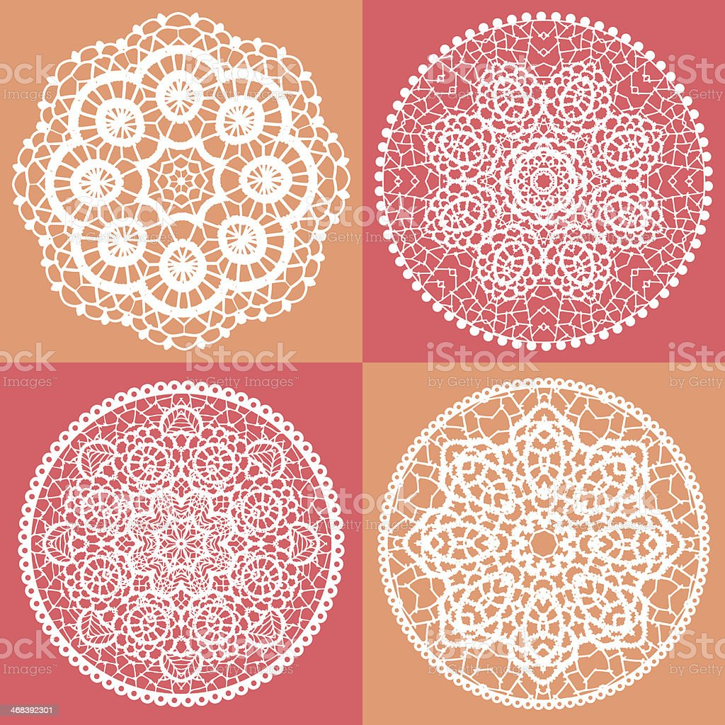Elegant lace doily background vector art illustration