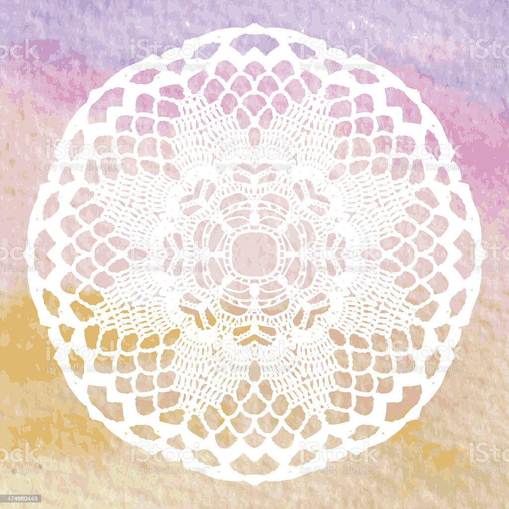 Ilustración de Elegante Lacy Tapete Crochet Mandala y más banco de ...