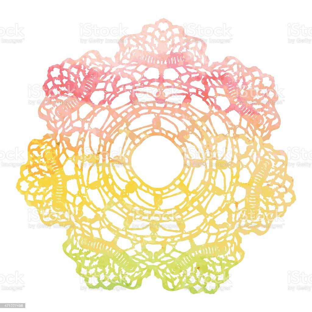 Ilustración de Elegante Lacy Acuarela Tapete Crochet Mandala y más ...