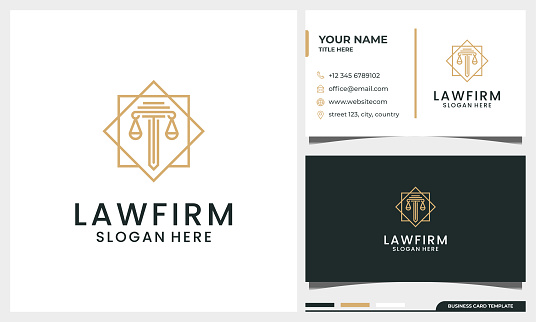 Elegant Law firm, attorney, pillar logo design with line art style and business card template
