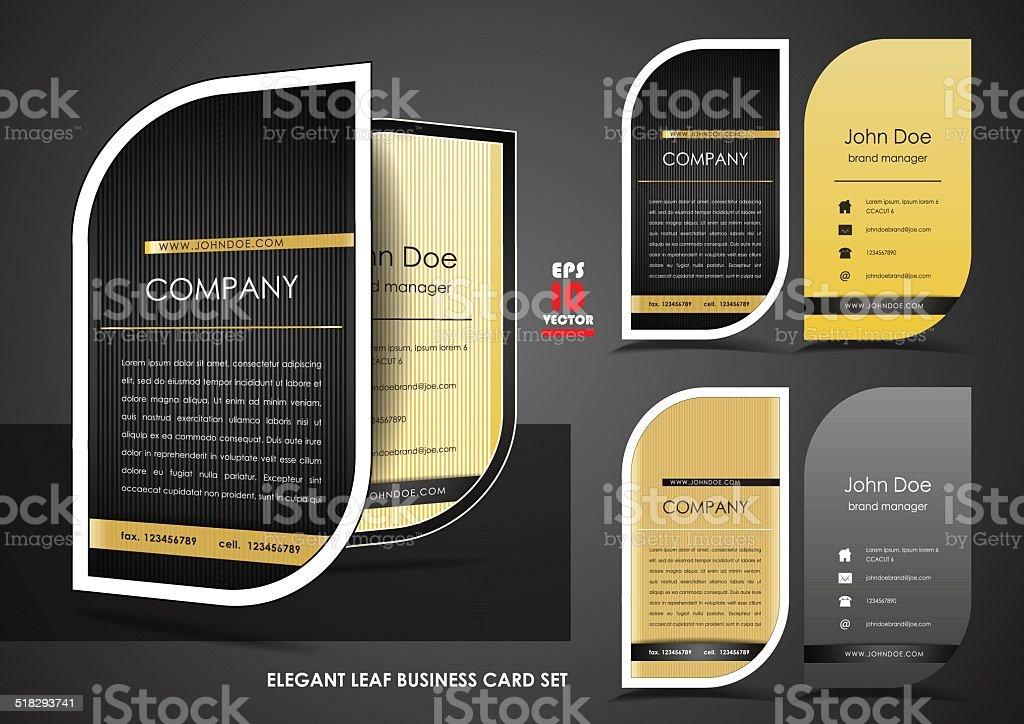 Elegant Leaf Business Card Set Stock Vector Art & More Images of ...
