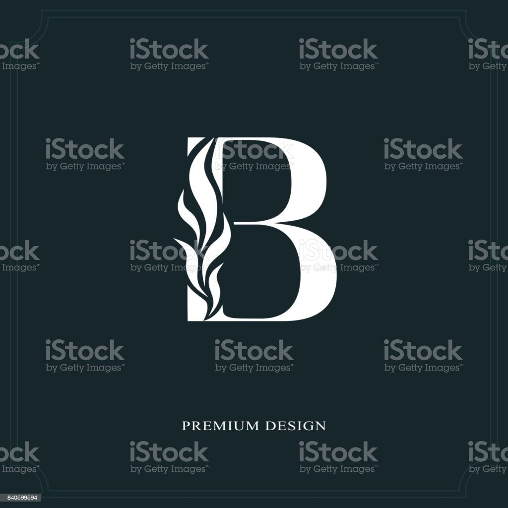 Elegant letter B. Graceful style. Calligraphic beautiful sign. Vintage drawn emblem for book design, brand name, business card, Restaurant, Boutique, Hotel. Vector illustration vector art illustration