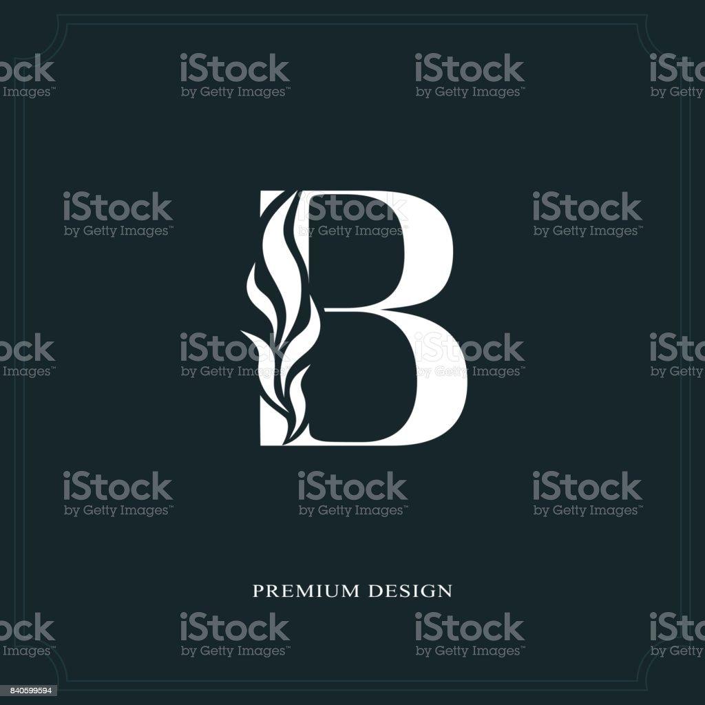 Zarif mektup B. Graceful tarzı. Kaligrafi güzel işareti. Kitap tasarımı, marka adı, kartvizit, Restoran, butik, otel için vintage çizilmiş amblemi. Vektör çizim vektör sanat illüstrasyonu