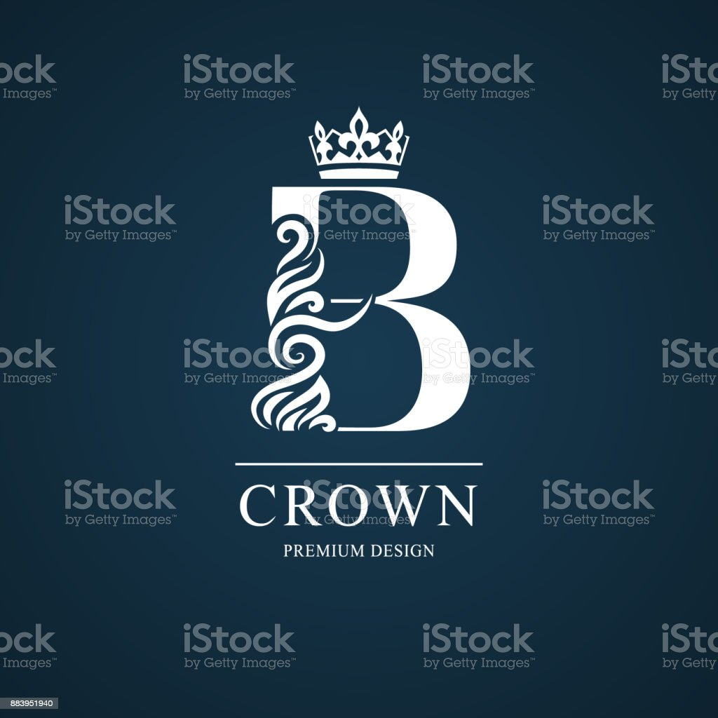 Elegant letter B with crown. Graceful style. Calligraphic beautiful sign. Vintage drawn emblem for book design, brand name, business card, Restaurant, Boutique, Hotel. Vector illustration vector art illustration