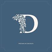 Elegant letter D. Graceful royal style. Calligraphic beautiful icon. Vintage drawn emblem for book design, brand name, business card, Restaurant, Boutique, Hotel. Vector illustration