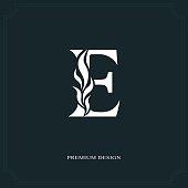 Vector illustration of Elegant letter E. Graceful style. Calligraphic beautiful sign. Vintage drawn emblem for book design, brand name, business card, Restaurant, Boutique, Hotel