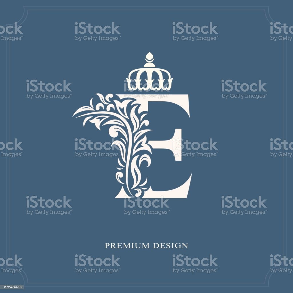 Elegant Letter E With A Crown Graceful Royal Style Stock Vector Art