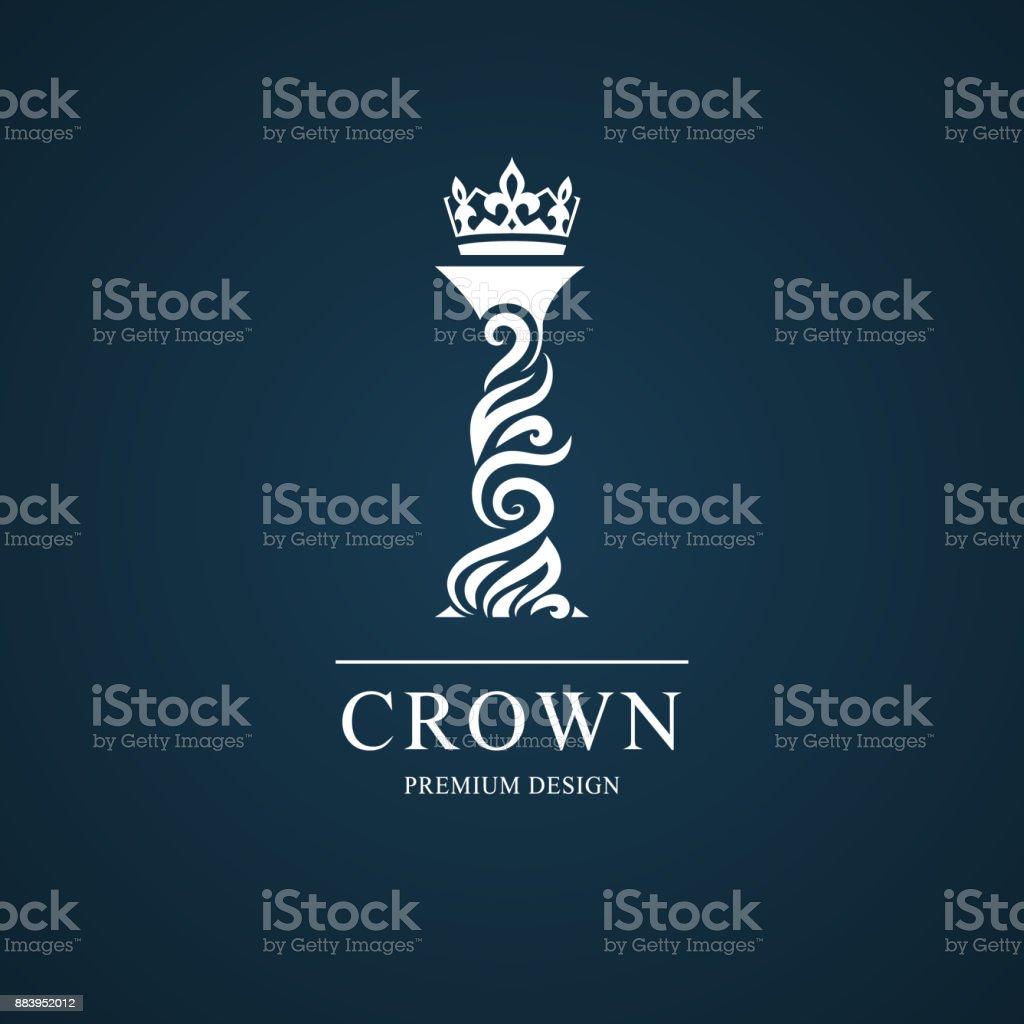Elegant letter I with crown. Graceful style. Calligraphic beautiful sign. Vintage drawn emblem for book design, brand name, business card, Restaurant, Boutique, Hotel. Vector illustration vector art illustration