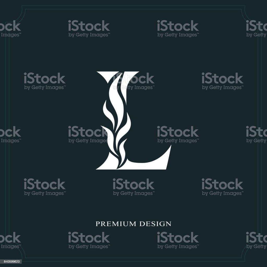 Eleganter Brief L. anmutig Stil. Kalligraphische schönes Zeichen. Vintage gezeichnete Emblem für Buchgestaltung, Markenname, Visitenkarte, Restaurant, Boutique, Hotel. Vektor-illustration – Vektorgrafik