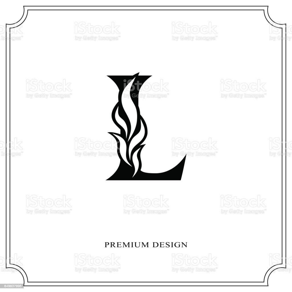 Elegant Letter L Graceful Style Calligraphic Beautiful Sign Vintage Drawn Emblem For Book