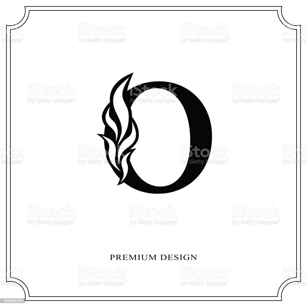 Elegant Letter O Graceful Style Calligraphic Beautiful Sign Vintage Drawn Emblem For Book