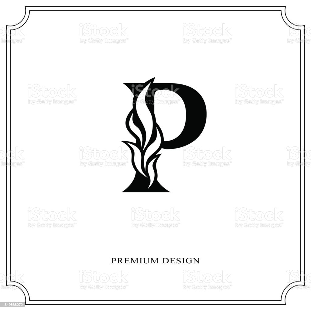 Elegant Letter P Graceful Style Calligraphic Beautiful Sign Vintage
