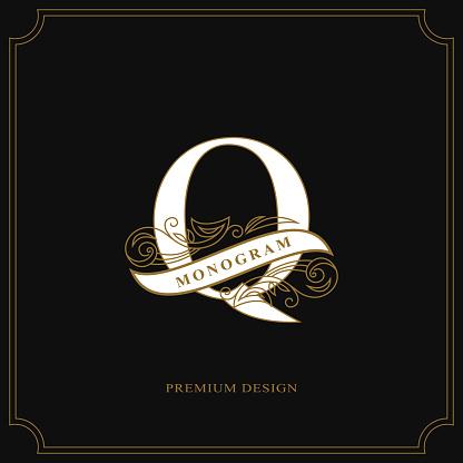 Elegant letter Q. Graceful style. Calligraphic beautiful sign. Vintage drawn emblem for book design, brand name, business card, Restaurant, Boutique, Hotel. Vector illustration