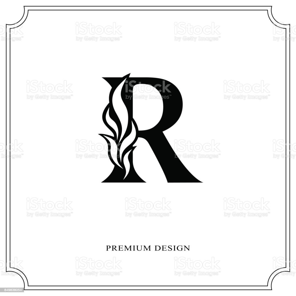 Elegant Letter R Graceful Style Calligraphic Beautiful Sign Vintage