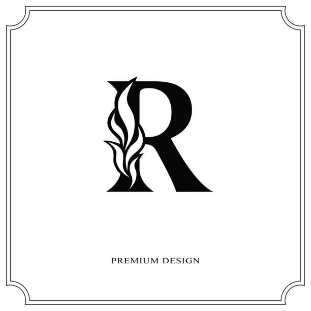 Elegant Letter R Graceful Style Calligraphic Beautiful Sign Vintage Drawn Emblem For Book