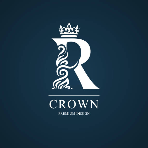 Elegant Letter R With Crown Graceful Style Calligraphic Beautiful Sign Vintage Drawn Emblem