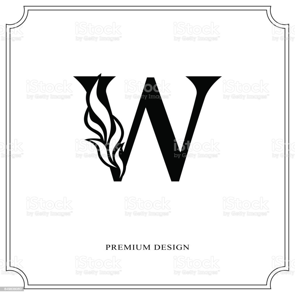 Elegant Letter W Graceful Style Calligraphic Beautiful Sign Vintage Drawn Emblem For Book