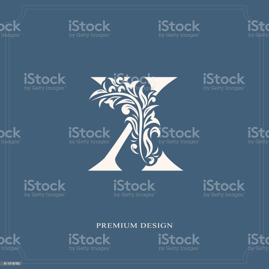 Elegant Letter X Graceful Style Calligraphic Beautiful Sign