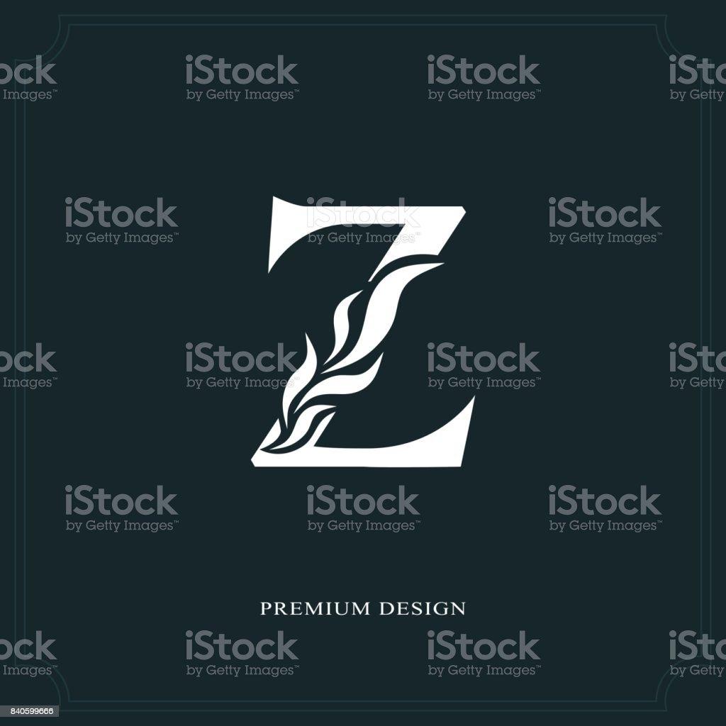 Elegant Letter Z Graceful Style Calligraphic Beautiful Sign Vintage Drawn Emblem For Book