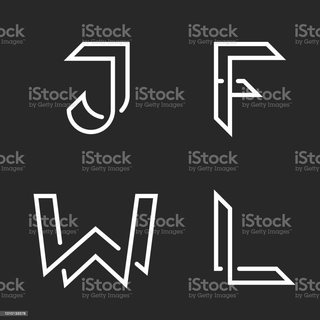 Elegante Buchstaben gesetzt, W, J, F, L Logos, kreative Kreuzung Linien Formen, Typografie Design Elemente Sammlung Identität Embleme – Vektorgrafik